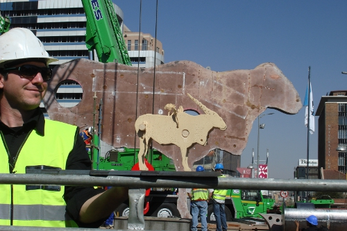 The Eland maquette against the actual sculpture during installation.
